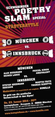 13. Schwabinger Poetry Slam - Städtebattle München vs. Innsbruck